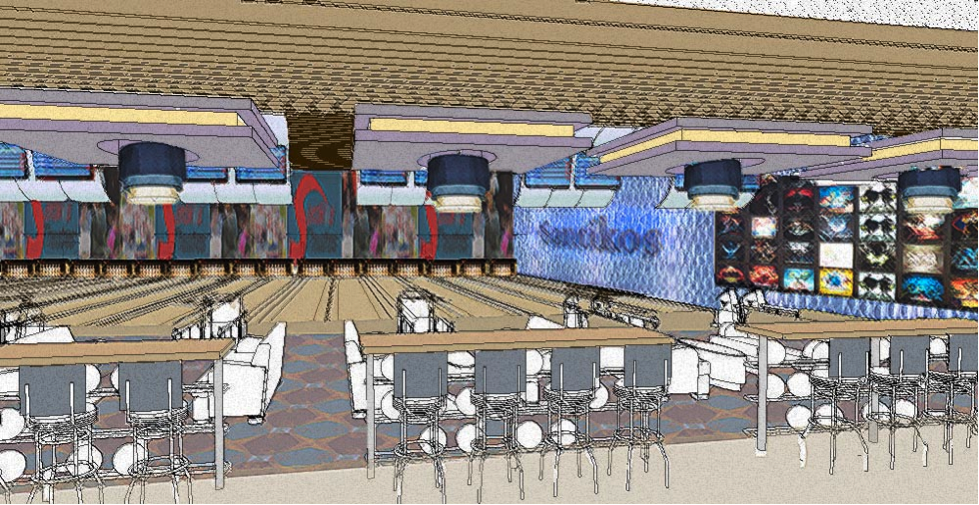 The Olympic Lanes, including 16 bowling lanes.