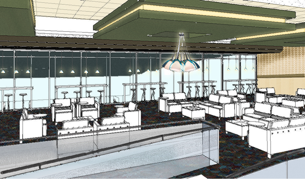 The Marathon Sports Lounge with numerous flat screen TVs, large sports viewing area and overlooks the bowling lanes below.