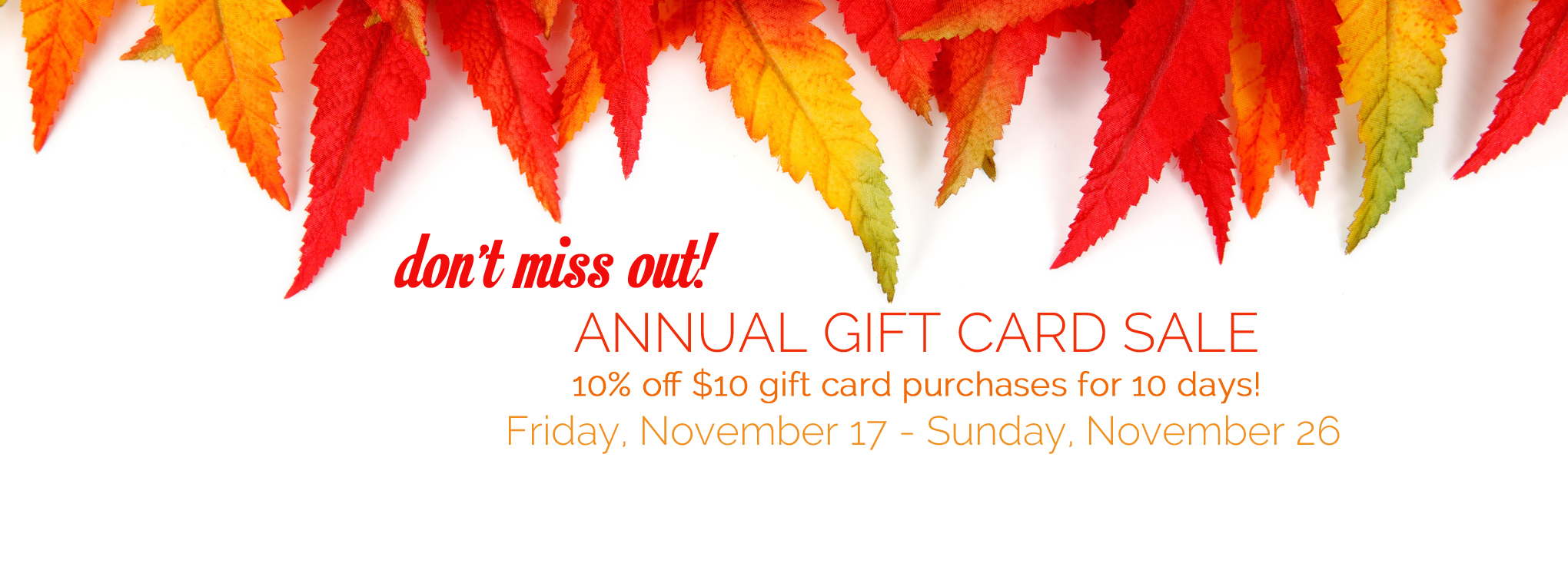 Slider image for annual gift card sale