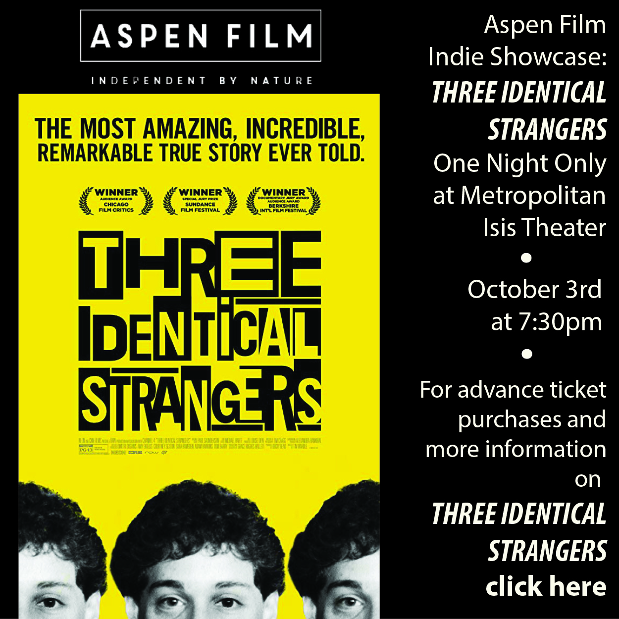 Indie Showcase - 3 Identical Strangers