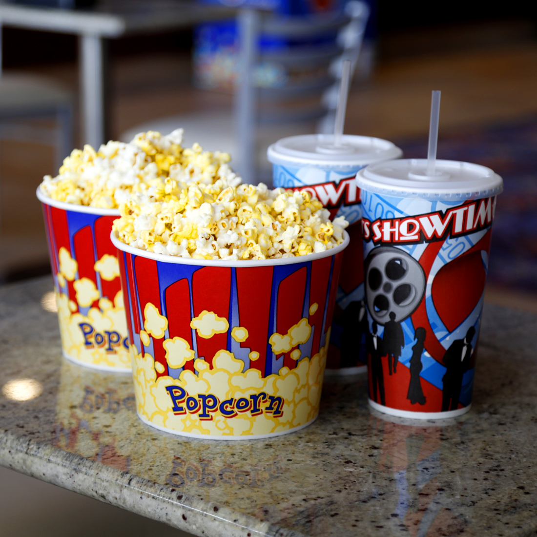 Two small popcorns and two large drinks