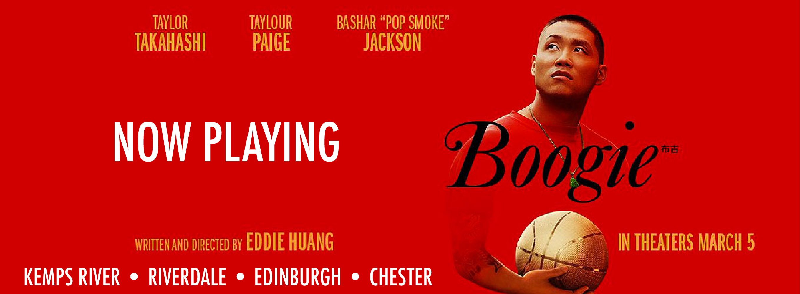 Get tickets to Boogie now playing at the Kemps River, Riverdale, Edinburgh, and Chester locations