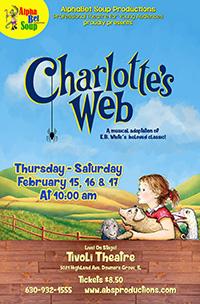 Poster for Alphabet Soup presents Charlotte's Web