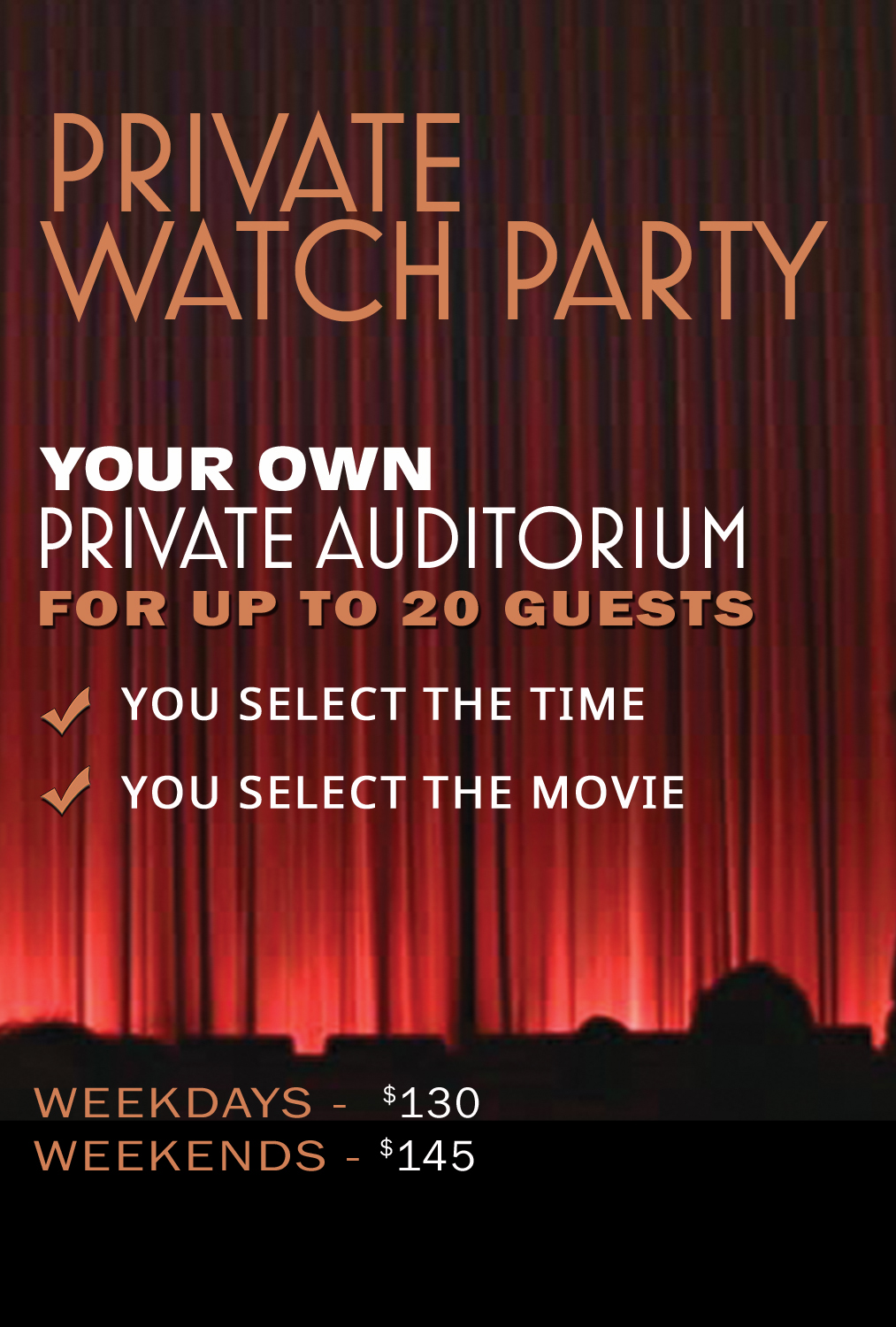 Poster for Private Watch Party (20 Guests)