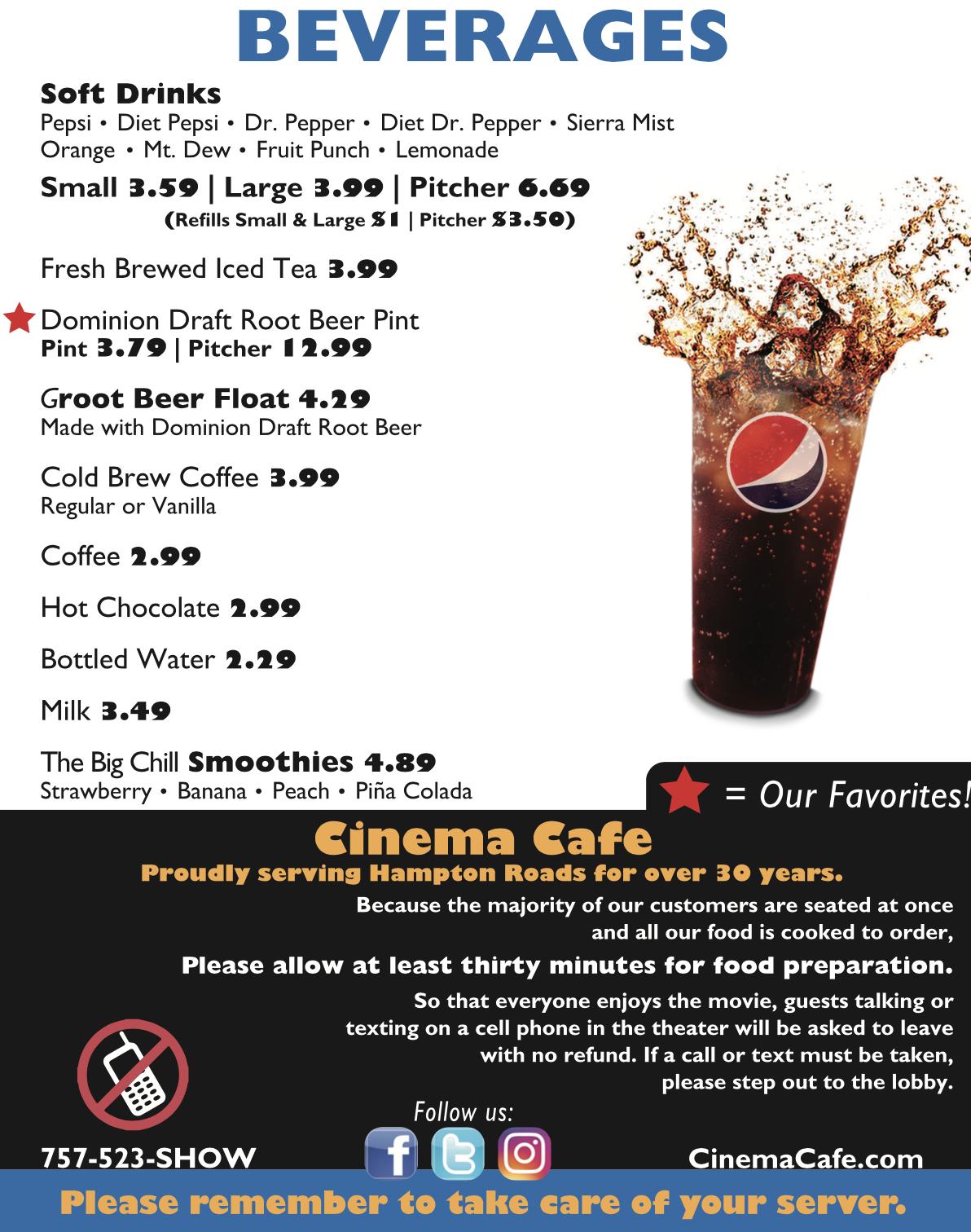 cinema cafe - kemps river premier virginia beach va
