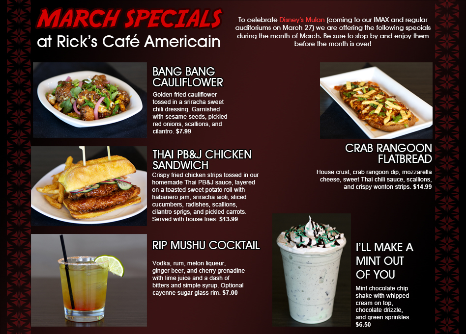March Specials at Rick's Cafe Americain