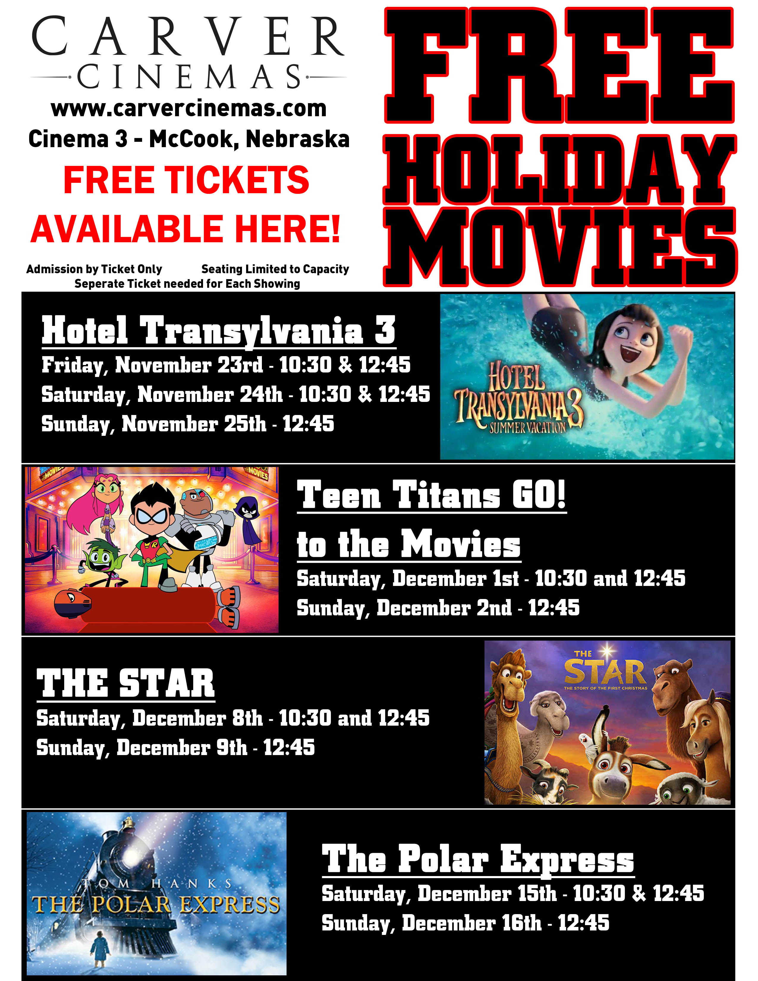 Carver Cinemas Mccook Ne Free Holiday Movies