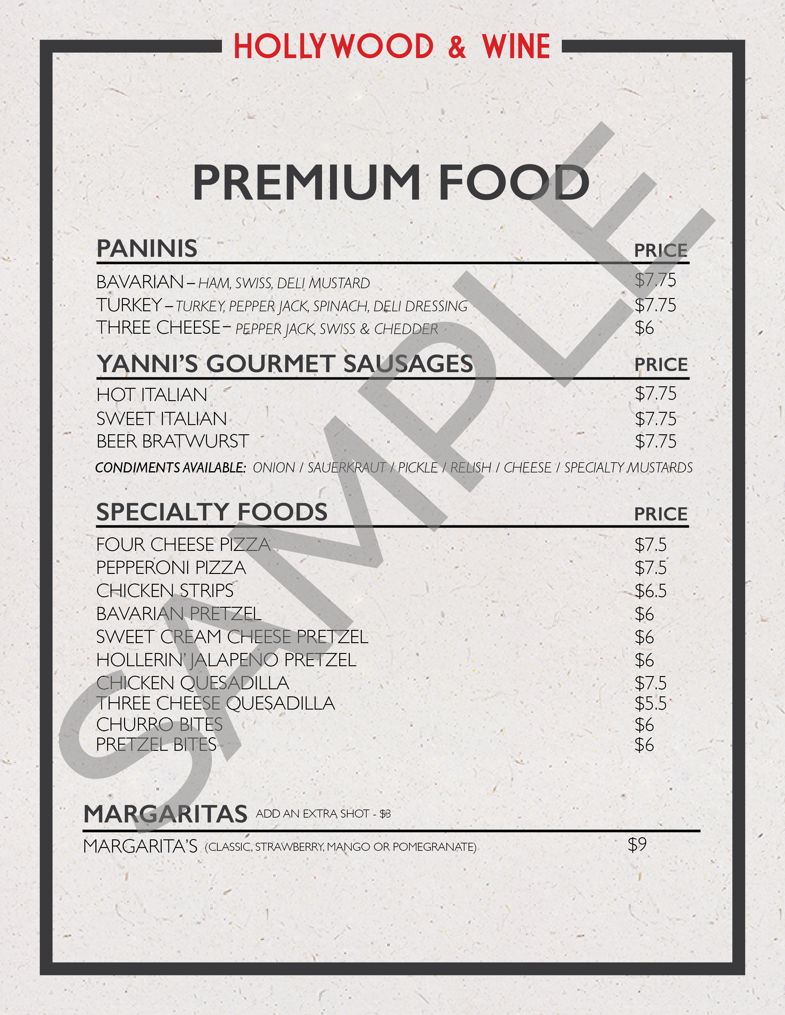 Premium Food Menu Sample Image