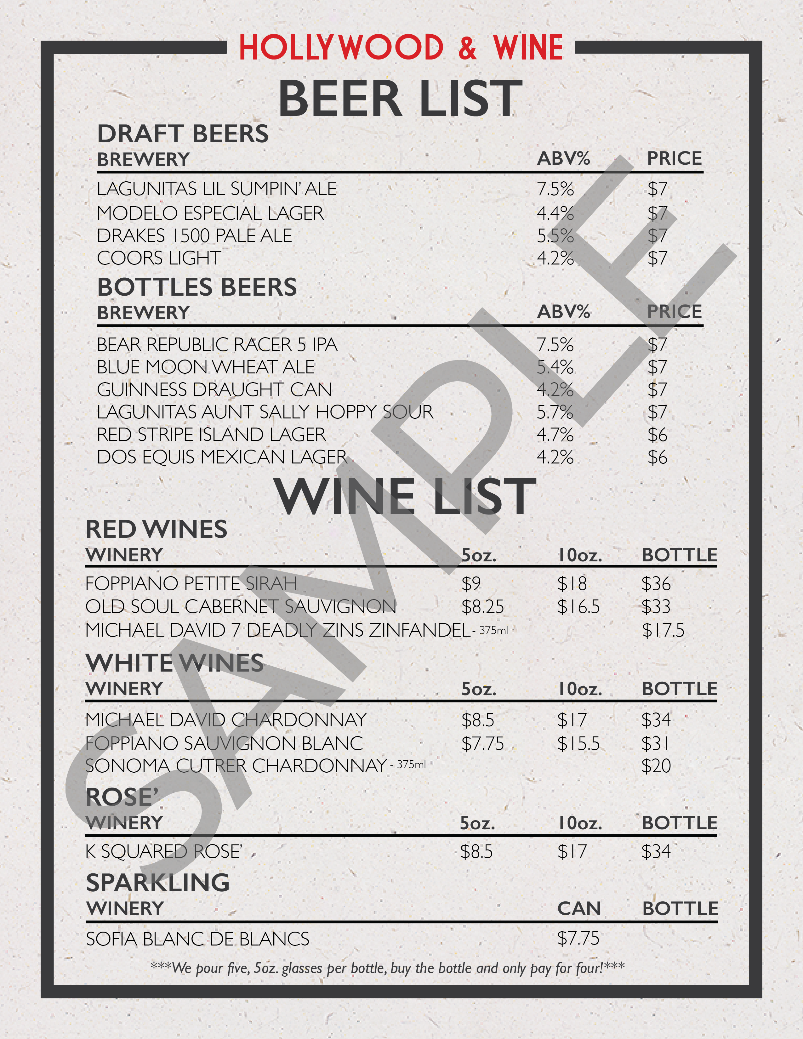Drink Menu Sample Image